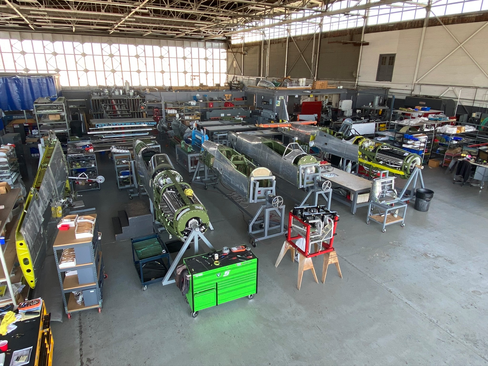 A shop floor photo from Airmotive Specialties Inc TF-51 line